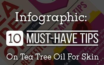 Tea tree oil for acne and skin - infographic.