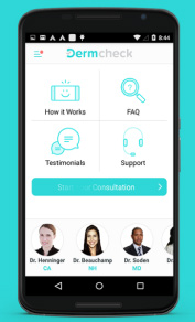 Dermcheck app for acne and skin care.