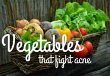 Vegetables for acne and skin care.