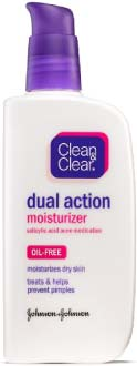 Clean & Clear Dual Action Oil Free Moisturizer for Acne Prone Skin